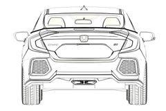 Sedan Honda Civic 2017 graphic Sketch. 3D Illustration. Sedan Honda Civic 2017 graphic Sketch. 3D Illustration Stock Photos