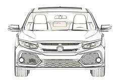 Sedan Honda Civic 2017 graphic Sketch. 3D Illustration. Sedan Honda Civic 2017 graphic Sketch. 3D Illustration Royalty Free Stock Images
