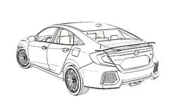 Sedan Honda Civic 2017 graphic Sketch. 3D Illustration. Sedan Honda Civic 2017 graphic Sketch. 3D Illustration Stock Photography