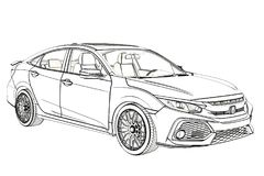 Sedan Honda Civic 2017 graphic Sketch. 3D Illustration. royalty free stock image