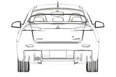 Sedan Mitsubishi Evolution X Sketch. 3D Illustration. royalty free stock photo