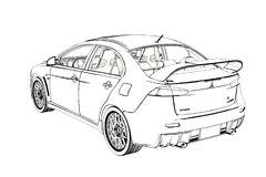 Sedan Mitsubishi Evolution X Sketch. 3D Illustration. stock photos
