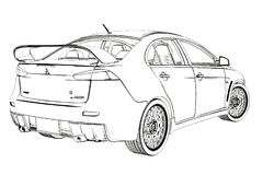 Sedan Mitsubishi Evolution X Sketch. 3D Illustration. stock photography