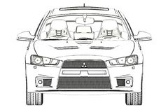 Sedan Mitsubishi Evolution X Sketch. 3D Illustration. stock photo