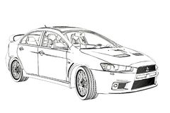 Sedan Mitsubishi Evolution X Sketch. 3D Illustration. stock image