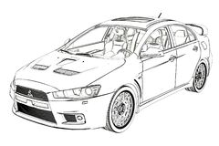 Sedan Mitsubishi Evolution X Sketch. 3D Illustration. royalty free stock photos