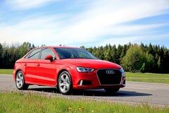 Sedan novo de Audi A3 no verão imagem de stock