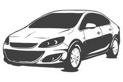 Sedan vector zwarte die illustratie op witte achtergrond wordt geïsoleerd Hand getrokken illustratie vector illustratie