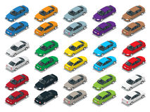 Sedanauto, Sedanauto Vlakke isometrische hoogte - de reeks van het het vervoerpictogram van de kwaliteitsstad Stock Foto's