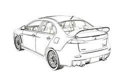 SedanMitsubishi evolution X skissar illustration 3d Arkivfoton