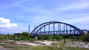 Sedayulawas Bridge. The view of sedayulawas bridge in the north beach territory of Brondong district in Lamongan East Java Indonesia Stock Image