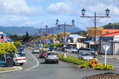 Waihi, New Zealand. Banners and decorative lampposts. Seddon Street in the historic gold mining town of Waihi, with old fashioned lampposts and banners Royalty Free Stock Photos