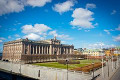 Sede del parlamento svedese e Riksplan Immagini Stock