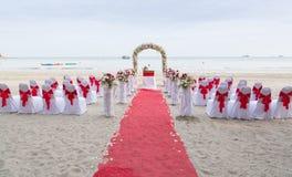 Sede di nozze sulla spiaggia Fotografia Stock