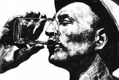 Sede ou homem com bebida ilustração royalty free