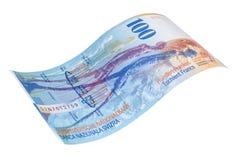 Sedel av de hundra schweizisk franc sikt för tillbaka sida royaltyfri bild