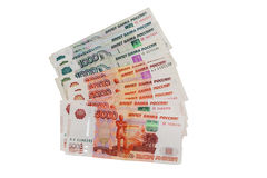 Sedel av rysspengar 5000 och 1000 på vit Royaltyfri Foto