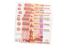 Sedel av rysspengar 5000 på vit Royaltyfria Bilder