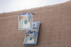 Sedel av US dollar som hänger på en rad Royaltyfria Bilder