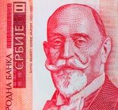 Sedel 1000 dinaravaluta, slut för serbupp Serbien pengar RS Arkivbilder