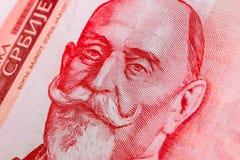 Sedel 1000 dinaravaluta, slut för serbupp Serbien pengar RS Royaltyfri Foto