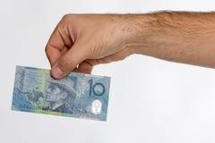 Sedel för australisk dollar 10 i tillbaka hand Arkivbild