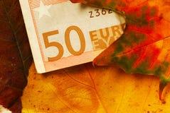 Sedel för euro femtio mellan höstleaves Arkivfoton