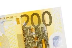 Sedel för euro som tvåhundra isoleras på vit bakgrund Royaltyfri Fotografi
