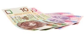 Sedel för finanspengarpolermedel på vit Arkivfoton