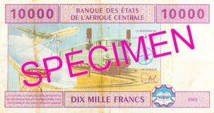 sedel för franc för 10000 omvänd central afrikanCFA arkivbild