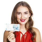 Sedel för kuwaitisk dinar i hand Den kuwaitiska dinar är den nationella cuen Royaltyfria Bilder