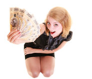 Sedel för pengar för valuta för polermedel för innehav för affärskvinna Royaltyfri Fotografi