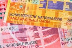 Sedel för Schweiz pengarschweizisk franc fotografering för bildbyråer