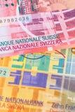 Sedel för Schweiz pengarschweizisk franc arkivfoton