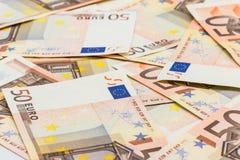 Sedel femtio euro inflation konkurs, valutautbyte Fotografering för Bildbyråer