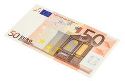 sedel för euro som 50 isoleras på vit Royaltyfri Bild