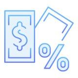 Sedel med den plana symbolen för procenttecken Blåa symboler för lån i moderiktig plan stil Intresse och design för pengarlutning stock illustrationer