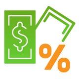 Sedel med den plana symbolen för procenttecken Lånfärgsymboler i moderiktig plan stil Intresse och design för pengarlutningstil royaltyfri illustrationer