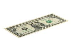 Sedel 1 US dollar som isoleras på en vit bakgrund Royaltyfria Foton