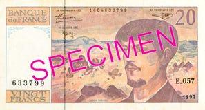 sedelavers för fransk franc 20 arkivbilder