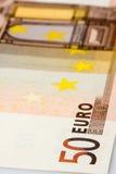 SedelCloseup för euro 50 Fotografering för Bildbyråer