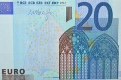 Sedelframdel för euro tjugo Arkivbild