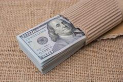 Sedelpacke av US dollar som slås in i papper Fotografering för Bildbyråer