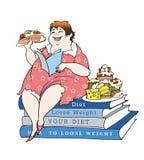 Sedendosi su una dieta illustrazione vettoriale
