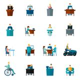 Sedentary Icons Flat Royalty Free Stock Photos