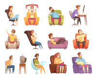 Sedentary Lifestyle Retro Cartoon Icons Set. Sedentary lifestyle set of retro cartoon icons with work at computer, watching television, reading isolated vector Stock Images