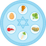 Seder plate of food, flat style. Jewish holiday  Passover. Isolated on white background.. Seder plate of food, flat style. Jewish holiday of Passover. Isolated Royalty Free Stock Photos