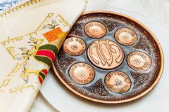 Seder plate vor passover holiday Royalty Free Stock Images