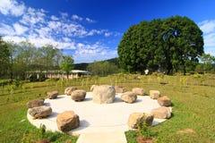 Sedi di pietra con gli alberi immagine stock