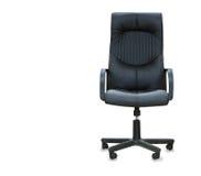 sedia dell'ufficio da cuoio nero isolato sopra bianco Immagine Stock Libera da Diritti